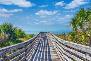 Wooden footpath to the beach at Honeymoon Island State Park.